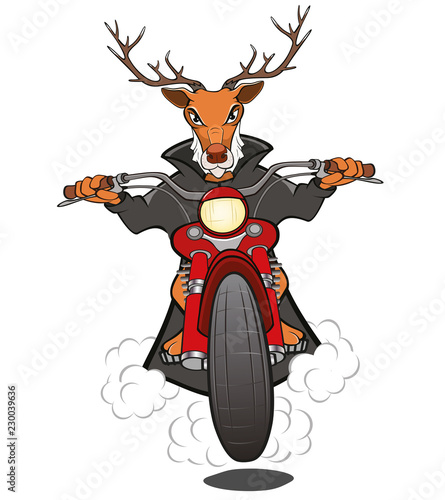 Staande foto Babykamer Biker Elk a Motorcycle Cartoon Illustration