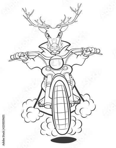 Biker Elk a Motorcycle Cartoon Illustration. Coloring Book. Outline