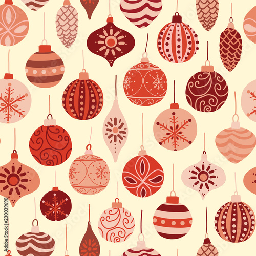 Christmas Texture.Vintage Christmas Ornaments Red And Beige Seamless Vector