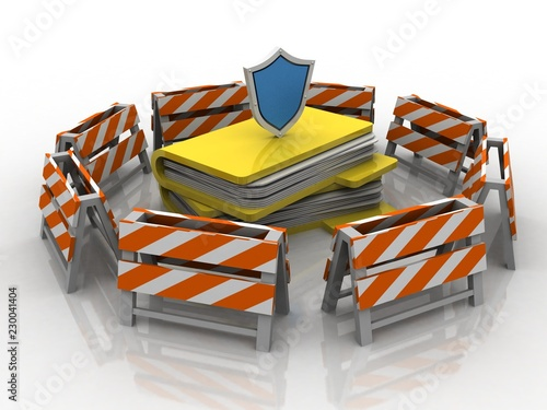 Fotografie, Obraz  laptop folder with shield. Isolated 3d rendering image