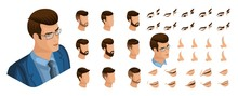 Isometric Create Emotions For Your Character, Young Entrepreneur, Business Man. Set Of Stylish Hairstyles And Emotions, Sadness, Joy, Happiness