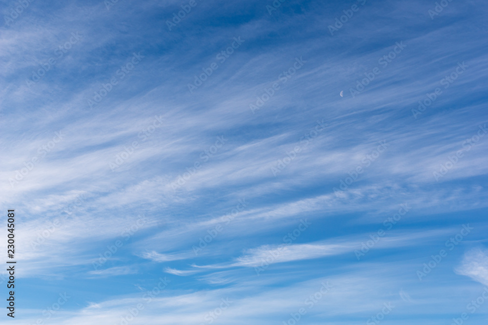 Fototapety, obrazy: Hazy small cirrostratus, cirrocumulus and cumulus cloud formations at blue sky