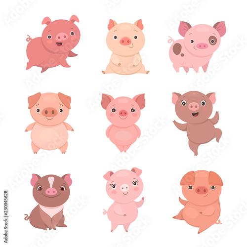 Obraz na plátne Cute piggies collection