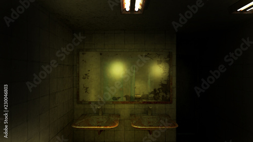 Stampa su Tela horror and creepy toilet in the hospital .3D rendering