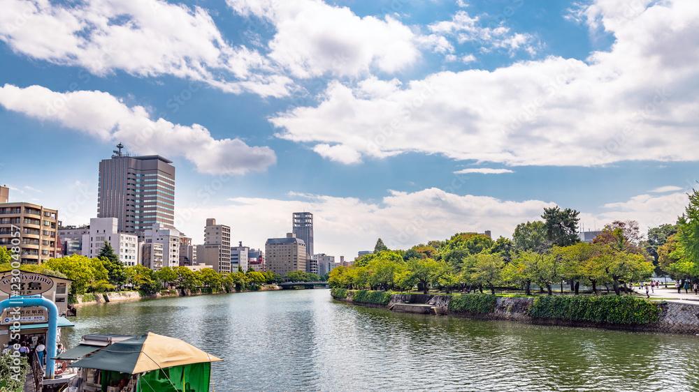 Fototapety, obrazy: 広島市街地と元安川の風景