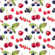 Garden Berries Hand Draw Seamless Watercolor Fabric Pattern.
