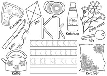 Letter K. English Alphabet. Writing Practice And Coloring Book. Education For Children.