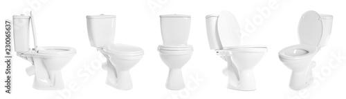 Fotografía  Set with toilet bowls on white background