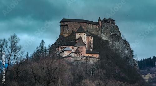 Spoed Foto op Canvas Grijze traf. Iconic Orava castle medieval landscape in Northern Slovakia