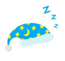Illustration Of Isolated Cartoon Sleeping Cap. Cute Sleeping Icon. Good Night