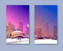 Trendy Cover Template. Winter City. Merry Christmas And New Year Card Design. Chicago. USA.  Hand Drawn. Street Sketch, Vector Illustration