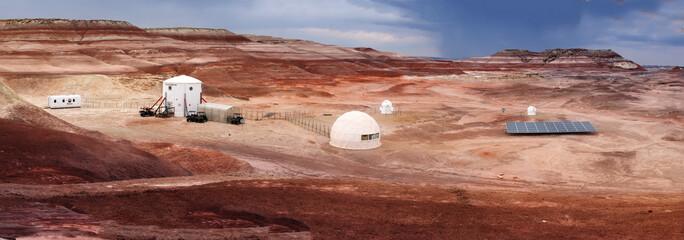 Fototapeta HANKSVILLE, UTAH - AUGUST 15, 2018: Panorama of the Mars Desert Research Station.