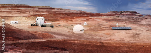 HANKSVILLE, UTAH - AUGUST 15, 2018: Panorama of the Mars Desert Research Station.