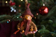 Vintage Stuffed Monkey Toy Under The Christmas Tree
