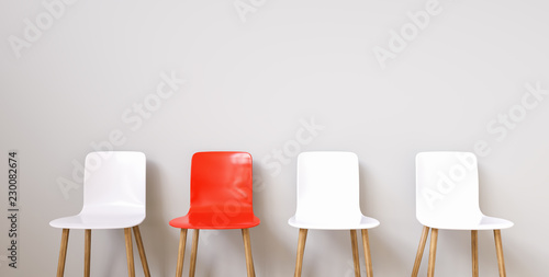 Valokuva  Chairs in modern design arranged in front of the wall for interior or graphic ba