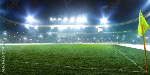 Spoed Foto op Canvas Stadion Football stadium, corner flag, shiny lights