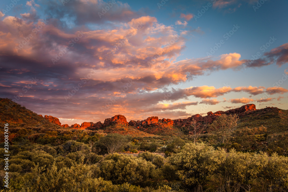 Fototapety, obrazy: Rock formations surrounding the Kings Canyon car park at dawn,  Central Australia, Northern Territory, Australia
