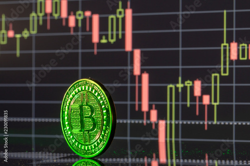 In de dag Opspattend water Bitcoin coin on the background graphics close-up