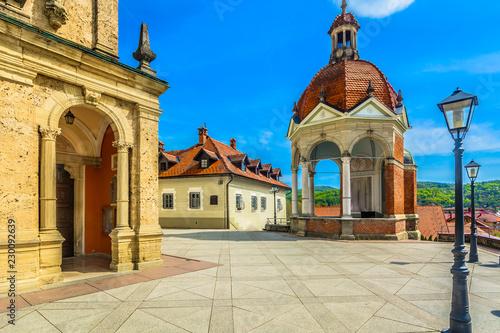Spoed Foto op Canvas Zuid-Amerika land Marija Bistrica architecture view. / Scenic view at architecture in marian shrine Marija Bistrica, famous catholic place in Croatia.