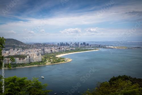 Panoramic aerial view of Rio de Janeiro, Guanabara Bay and Flamengo Park - Rio de Janeiro, Brazil