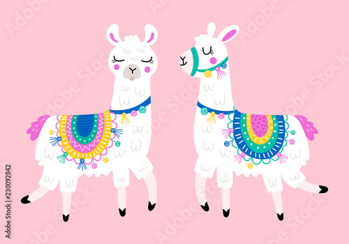 Cute llama set for design. Childish print for t-shirt, apparel, cards and nursery decoration