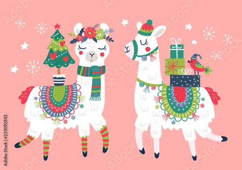 Fotografia Cute llama character Christmas card