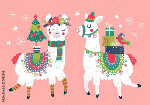 Photo  Cute llama character Christmas card