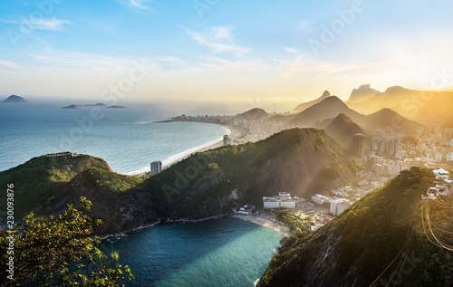 Aerial view of Rio de Janeiro Coast with Copacabana and Praia Vermelha beach at Wallpaper Mural