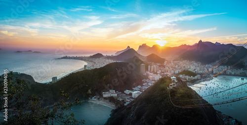 Aerial view of Rio de Janeiro Coast with Copacabana, Praia Vermelha beach, Urca and Corcovado mountain at sunset - Rio de Janeiro, Brazil