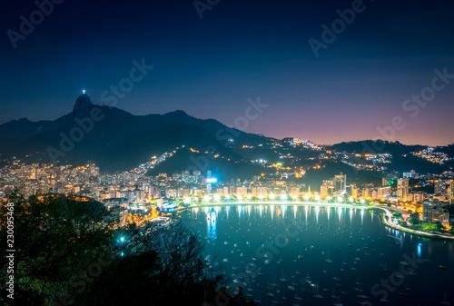 Aerial view of Rio de Janeiro and Guanabara Bay with Corcovado Mountain at night - Rio de Janeiro, Brazil
