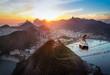 Leinwandbild Motiv Aerial view of Rio de Janeiro at sunset with Urca and Sugar Loaf Cable Car and Corcovado mountain  - Rio de Janeiro, Brazil