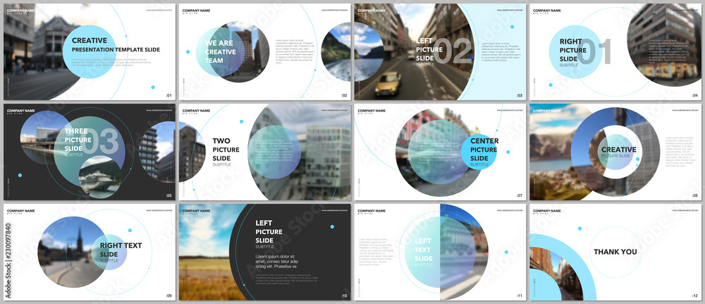 Fototapety, obrazy: Minimal presentations design, portfolio vector templates with circle elements on white background. Multipurpose template for presentation slide, flyer leaflet, brochure cover, report, marketing.