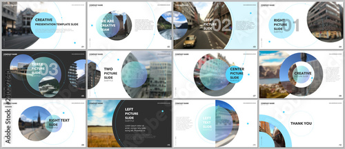 Photo Minimal presentations design, portfolio vector templates with circle elements on white background