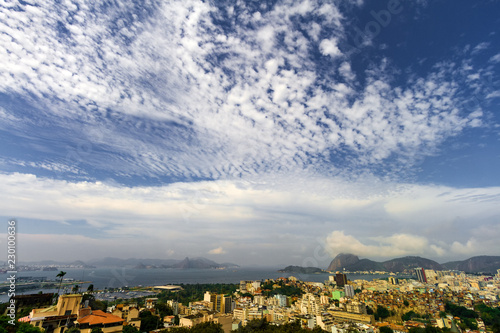 General view of the Catete neighborhood with the Sugarloaf hill in the backgroun Canvas Print