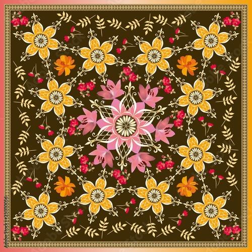 Fotografía  Motley floral ornament for square bandana print in vector in russian style