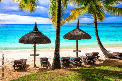 Tropical beach scenery. Relaxin holidays in Mauritius island