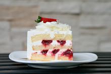 Strawberry Short Cake On White Plate.