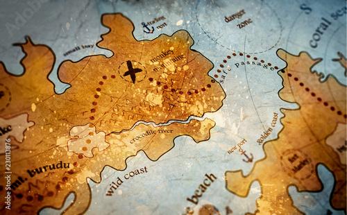 Cuadros en Lienzo treasure island map