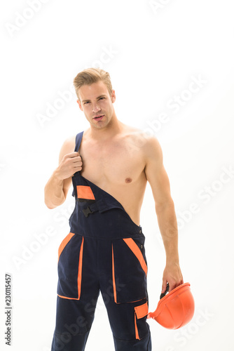 Fotografía  Repairman in construction overalls