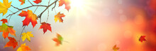 Autumn Background Banner With Colorful Falling Leaves And Sunlight