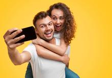 Couple Having Fun And Taking Selfie
