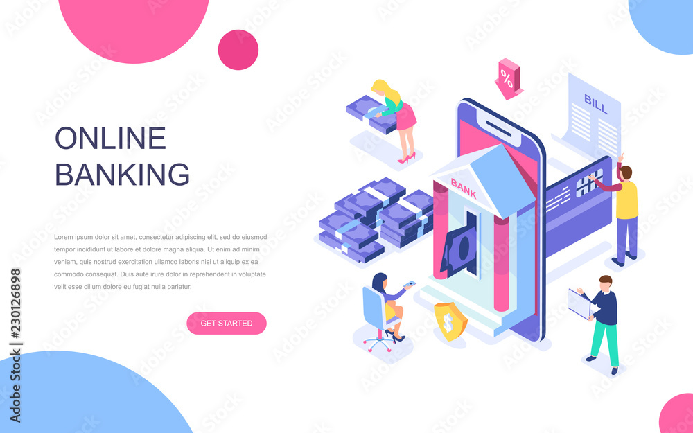 Fototapeta Modern flat design isometric concept of Online Banking for banner and website. Isometric landing page template. Electronic bank payment or customer support. Vector illustration.
