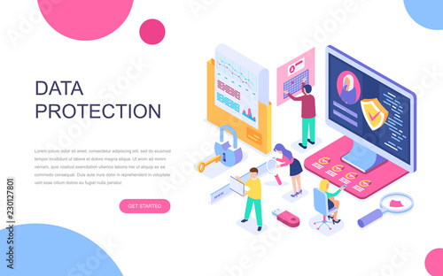 Fotografía  Modern flat design isometric concept of Data Protection for banner and website