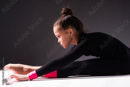 Teenager girl involved in rhythmic gymnastics