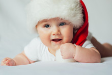 Cute Little Baby In Santa Hat ...