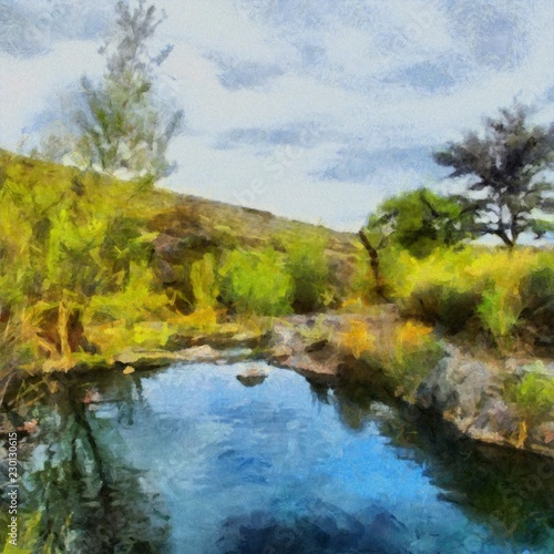 Poster Texas Hand drawing watercolor art on canvas. Artistic big print. Original modern painting. Acrylic dry brush background. Beautiful suumer landscape. Wild lake. Green valley. Active travel.