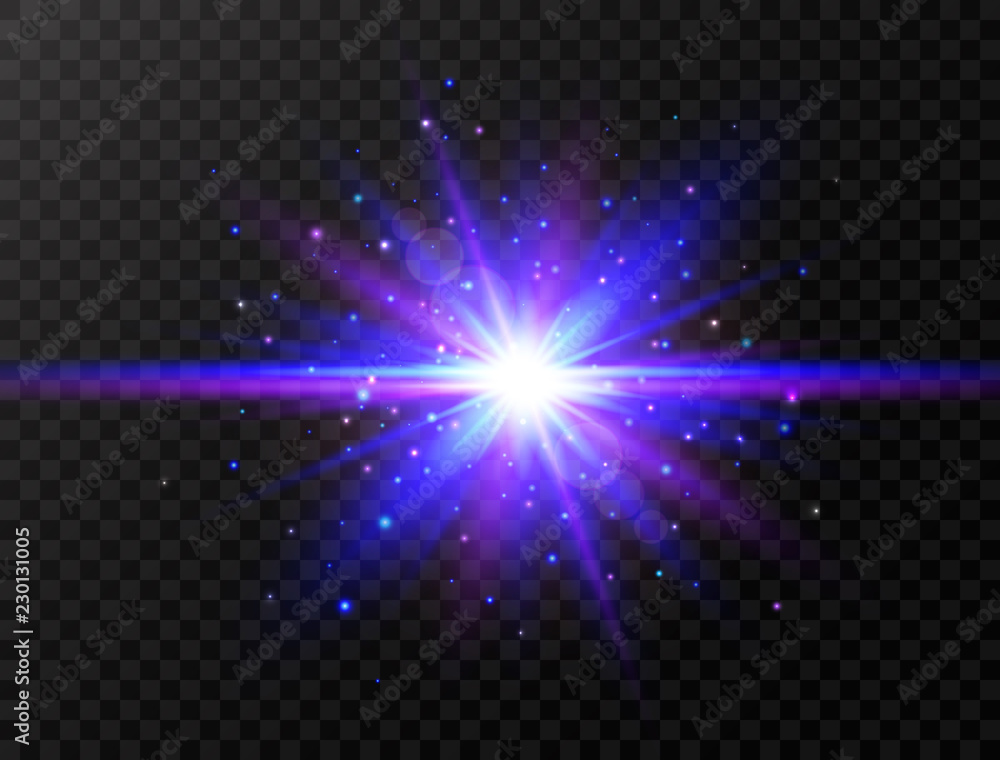 Fototapety, obrazy: Blue and violet glowing effect. Star burst with beams and sparkles. Futuristic light on transparent background. Flash with rays and spotlight. Blue and violet glowing effect. Vector illustration