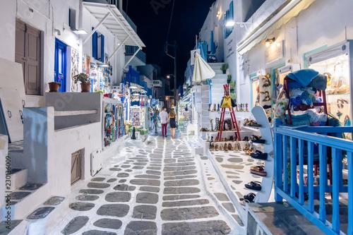 Spoed Foto op Canvas Marokko View of the famous pictorial narrow streets of Mykonos town in Mykonos island, Greece