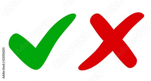 Valokuva Check mark and cross - vector for stock