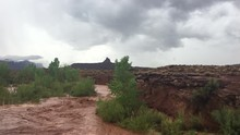 Flash Flood Waters Flows Through The Canyonlands Needle District Utah USA